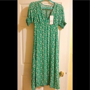 new with tag green dress french style